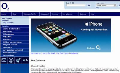 iPhone イギリスではO2に決定。気になる3Gは?