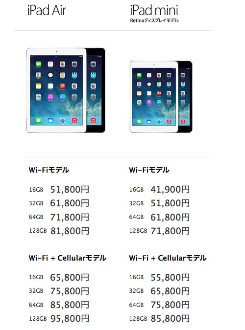 iPad air mini2セルラー価格比較