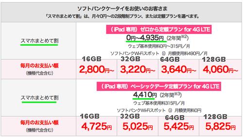 iPad airソフトバンク価格料金