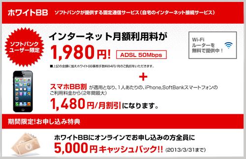 SoftbankのiPhoneユーザーにお得なホワイトBB オンライン加入で5,000円のキャッシュバック!